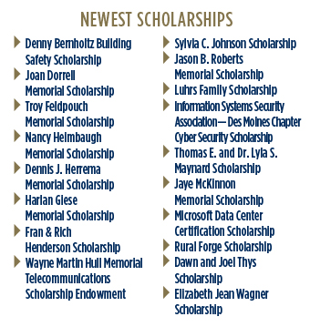 Newest Scholarships: Denny Bernholz Building Safety, Joan Dorrell Memorial, Troy Feldpouch Memorial, Nancy Heimbaugh Memorial, Dennis J. Herrema Memorial, Harlan Giese Memorial, Fran & Rich Henderson, Wayn Martin Hull Memorial Telecommunications Scholarship Endowment, Sylvia C. Johnson, Jason B. Roberts Memorial, Luhrs Family, Information Systems Security Association- Des Moines Chapter Cybersecurity, Thomas E. and Dr. Lyla S Maynard, Jaye McKinnon Memorial, Microsoft Data Center Certification, Rural Forge, Dawn and Joel Thys, Elizabeth Jean Wagner