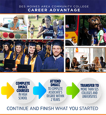 Career Advantage - Compete DMACC Classes in High School, Attend DMACC to complete your Associate degree within 2 years