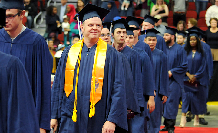 DMACC Grads Walking in During Graduation Ceremony