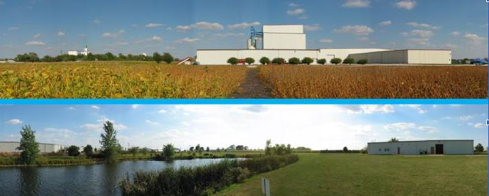 MBS Genetics twho photos of the building, one with a field in the foreground, the other with a lake in the foreground