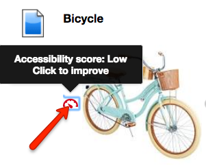 Example of a Blackboard Ally indicator - Bicycle. Accessibility score: Low Click to Improve