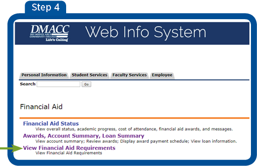 "Screen 4 - arrow pointing to View Financial Aid Requirements. Select ""View Financial Aid Requirements"""