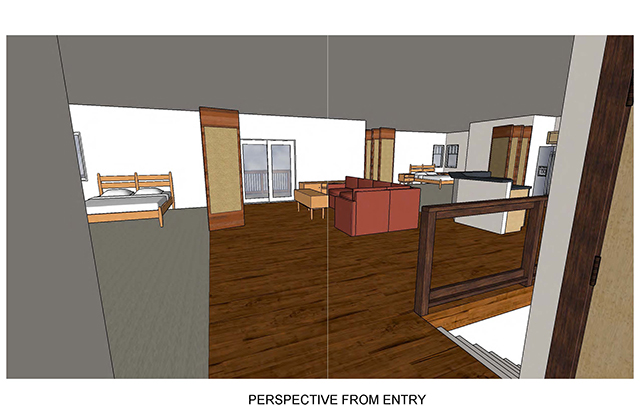 Perspective from entry shows a view of the kitchen, living room, two bedrooms and stairs leading downstairs