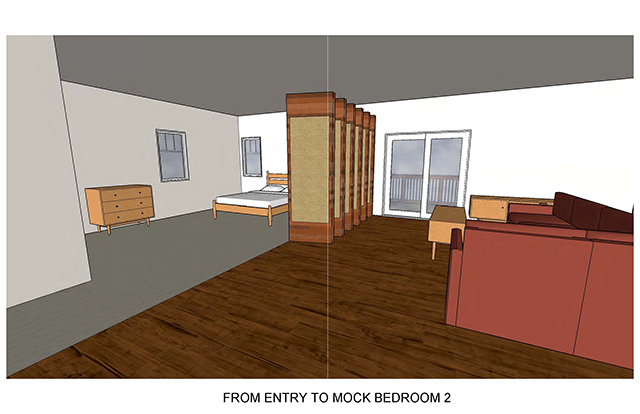 From Entry to Mock Bedroom 2 shows folding door to expose a bedroom off the living room