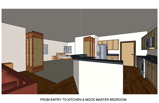 From Entry to Kitchen & Mock Master Bedroom shows kitchen and folding doors exposing a master bedroom