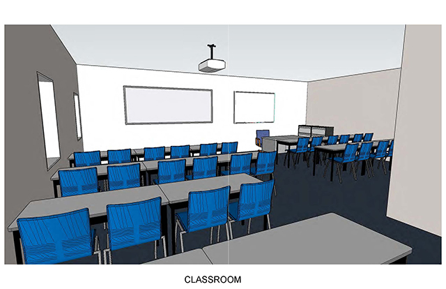 Classroom shows 6 rows of table sand chairs, with an instructor desk and and Multimedia equipment on front wall
