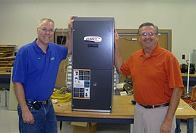 DMACC Instructor Jonathan Darling (left) and Jim Rezab from Lennox Industries (right)