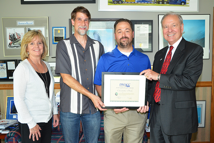 DMACC student receives STEM certificate