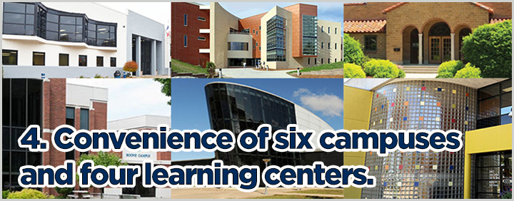 4. Convenience of six campuses and four learning centers.