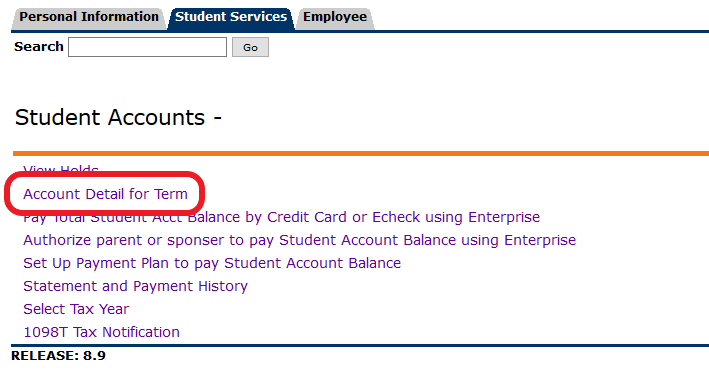 Click Account Detail for Term