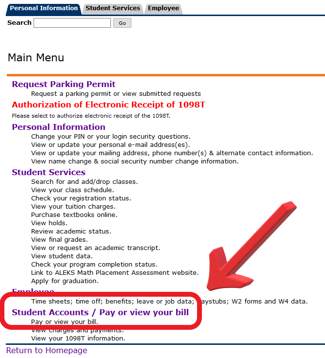 Click Student Accounts/Pay or View your bill.