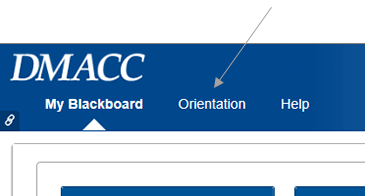 Image of Blackboard header with an arrow leading to the Orientation link